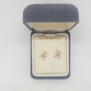 NIB 10kt gold butterfly earrings